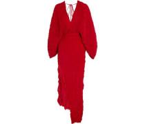 Crinkled plissé-silk maxi dress