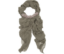 Beaded Silk-chiffon Scarf Grau