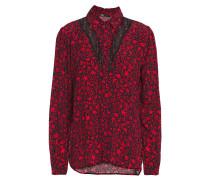 Ciriane Lace-paneled Floral-print Crepe Shirt