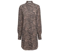 Talma Zebra-print Crepe De Chine Mini Shirt Dress