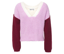 Color-block Ribbed And Open-knit Cotton Sweater