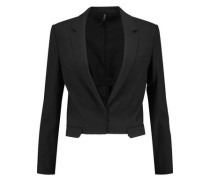 Cropped wool-blend twill jacket