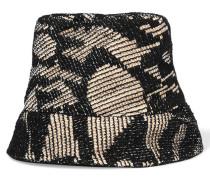 Crochet-knit Cotton-blend And Woven Raffia Sunhat Schwarz