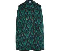 Metallic Intarsia Wool-blend Cape Mehrfarbig