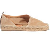 Woman Delos Leather-trimmed Suede Espadrilles Sand
