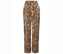Hose mit Weitem Bein aus Glänzendem Jacquard mit Schlangenprint