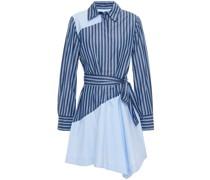 Gestreiftes Hemdkleid aus Baumwollpopeline in Minilänge mit Gürtel