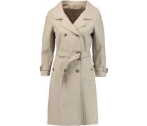 Crinkled Cotton-blend Trench Coat Beige