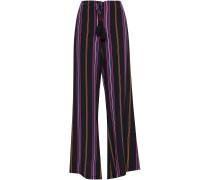Simone Tasseled Striped Silk Wide-leg Pants