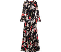 Pleated Floral-print Chiffon Gown
