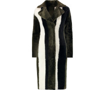 Striped Faux Fur Coat Schwarz