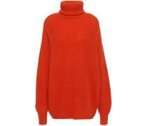 Oversized Ribbed Cashmere Turtleneck Sweater