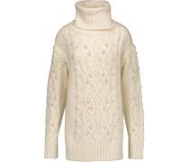 Embellished Cable-knit Wool-blend Turtleneck Sweater Creme