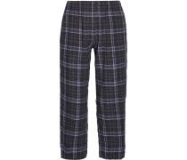 Donna Plaid Stretch Cotton-gauze Pajama Pants Navy