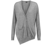Asymmetric Merino Wool Cardigan Grau