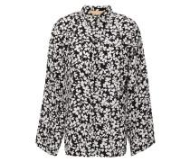 Fluted Floral-print Silk Crepe De Chine Shirt