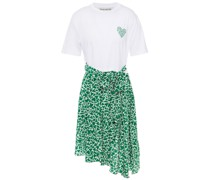 Camou Heart Sadie Bedrucktes Kleid mit Einsätzen aus Crêpe De Chine aus Seide und Jersey