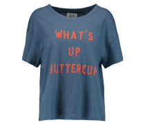 What's Up Buttercup Printed Linen And Cotton-blend Jersey T-shirt Blau