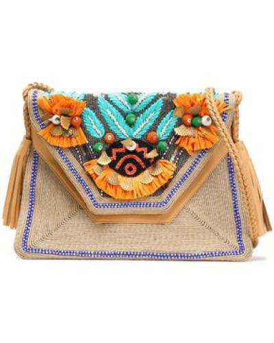 Embellished Woven And Leather Shoulder Bag Sand Size --