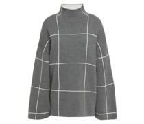 Checked Merino Wool Turtleneck Sweater
