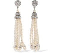Silver-tone Crystal And Faux Pearl Earrings Silber