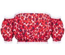 Woman Off-the-shoulder Floral-print Stretch-cotton Poplin Top Red
