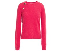 Button-detailed Mélange Cashmere Sweater