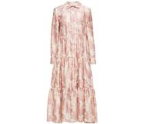 Hemdkleid in Midilänge aus Glänzendem Twill mit Camouflage-print und Raffung