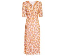 Knotted Floral-print Silk-georgette Dress