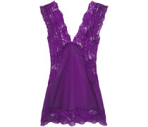 Lace-paneled Silk-blend Voile Camisole