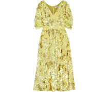 Woman Button-embellished Metallic Fil Coupé Chiffon Dress Yellow