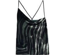 Asymmetric Draped Zebra-print Velvet Camisole