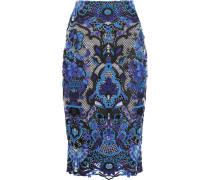 Embroidered Mesh Skirt Blau