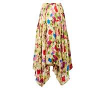 Freja Asymmetric Floral-print Devoré-chiffon Midi Skirt