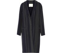 Striped Wool-blend Coat Mitternachtsblau