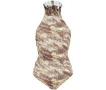 Neckholder-badeanzug mit Print und Rüschen