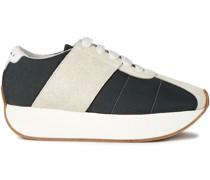 Zweifarbige Sneakers aus Veloursleder und Canvas