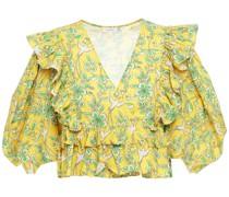 Elodie Cropped Wickelbluse aus Baumwollpopeline mit Print und Rüschen