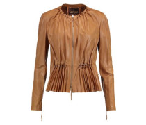 Pleated faux leather jacket