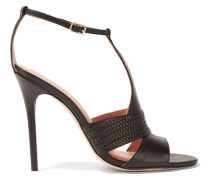 Connie Woven-trimmed Leather Sandals Schwarz