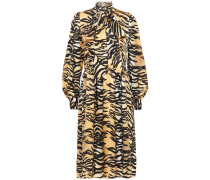 Pussy-bow Tiger-print Silk And Cotton-blend Satin Dress