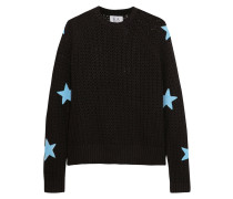 Appliquéd Open-knit Cotton Sweater Schwarz