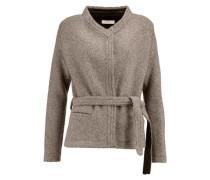 Belted leather-trimmed wool-blend jacket