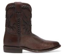 Wyatt Cutout Distressed Leather Ankle Boots Dunkelbraun