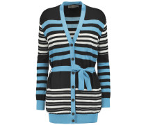Striped Wool, Cotton And Silk-blend Cardigan Schwarz