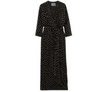 Wrap-effect Velvet-jacquard Gown