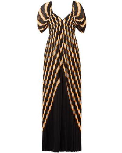 Alvima Pleated Striped Chiffon Maxi Dress Black