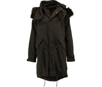Faux fur-trimmed padded canvas parka
