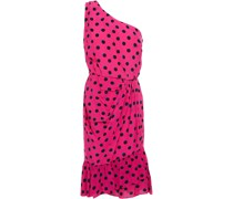 Minikleid aus Webstoff mit Polka-dots und Asymmetrischer Schulterpartie