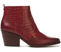 Woman Smooth And Croc-effect Leather Ankle Boots Brick